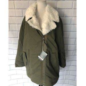 Gap Faux Fur Lined Parka New Army Green Coat